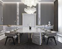 Formal dining room. Villa interior.