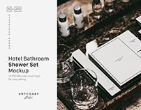 Hotel Shower Set Mockup Bathroom