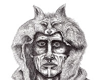 Native american indian wolf - Limited edition