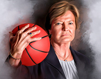 Pat Summit Digital Oil Painting by Wayne Flint