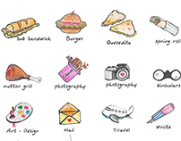 "Illustrations: "" Hand drawn icons- with Love! """