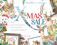 Christmas SALE Watercol Animals illustration