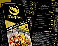 Take-away Menu Design for D'elephant
