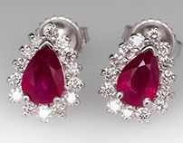 Pear Cut Ruby & Diamond Halo Earrings