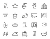 Hotel & Restaurant Vector Icons