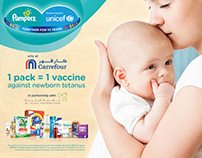 "P&G + Carrefour. ""1 pack = 1 vaccine"". Autumn 2015."