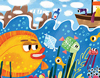 Flounder and boat
