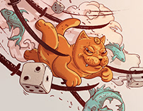 Neko-cat. Illustration for Suzie Wong Bar. Vol II