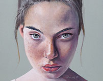 Girl with topknot - oil on panel 25x20 cms