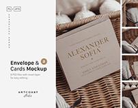 Wedding Cards & Envelope Mockup