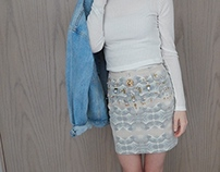 Bejeweled Great Wave Skirt