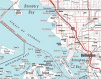 Tri-Color Halftone Map - Pacific Northwest