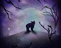 Brown Bear with Moon