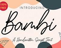 100% Free - Bambi Handwritten Font