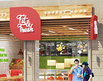 Fit & Fresh cafe, interior and facade design