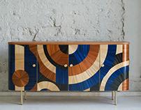 Solomia Cabinet in Blue&Terracotta