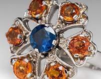 Blue & Orange Sapphire Floral Cocktail Ring