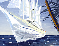 Windstar Cruises series of 8 travel illustrations