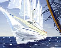 Windstar Cruises series of 8 travel illustrations