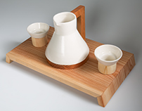 Ceramic & Wood Tea Set