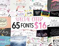 Joanne Marie Font Bundle - 65 fonts for $16 PLUS 3 MORE