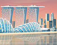 Singapore Retro Travel Poster City Illustration