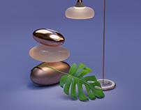 Marble & Copper Floor Lamp