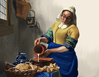 Self portrait as The Milkmaid by Johannes Vermeer