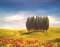 Tuscany landscape with poppies