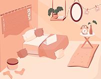 Bed Room Illustration