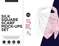 Silk Square Scarf Mock-ups Set