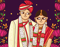 Mangalore Wedding Invitation Design and Illustration