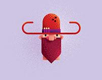 Flat Design Cowboy Character Illustration