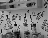 Hot Sauce Wall Illustration
