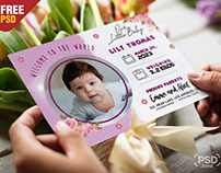 Baby Birth Announcement Card PSD Template