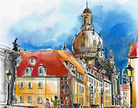 Dresden, View to the Church of Our Lady