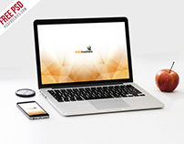 Free PSD : Macbook Pro and Phone Mockup Template PSD