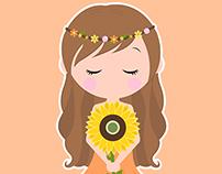 Flower girls Vector Illustration