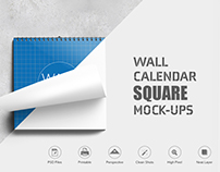 Wall Calendar Square Mock-Ups