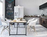 Scandinavian kitchen 3D-Visualization&Design