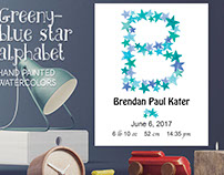 Star alphabet in greeny-blues plus FREEBIE