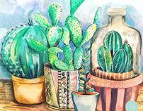 Cactus Composition Watercolor Illustration