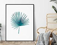Green Blue Palm Print, Printable Wall Art