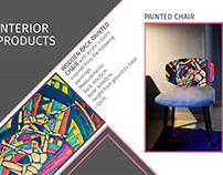 wooden back painted chair (product design )
