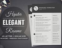 2 Pages Hipster Elegant Resume CV Set