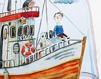 A series of ships and sailors, b., Watercolor, 41Х60, 2