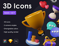 Basic Pack - 40 Customizable 3D Icons