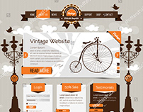 vintage website template with retro, classic elements