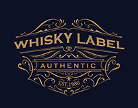 whisky label antique typography vintage frame logo