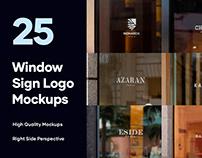 25 Window Signs Logo Mockups - PSD